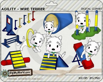 Agility Dog Wire Terrier breed, cones, ramps, tunnels training colored clip art for cardmaking and scrapbooking