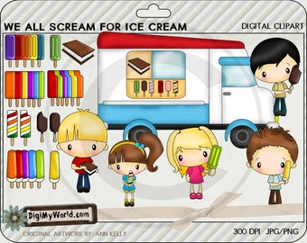 Ice Cream Truck, kids and ice cream treats, summer fun colored clip art,  for card making and scrapbooking