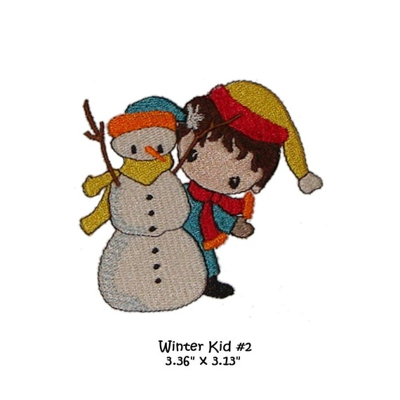 Machine Embroidery Winter boy hiding behind his snowman digital file