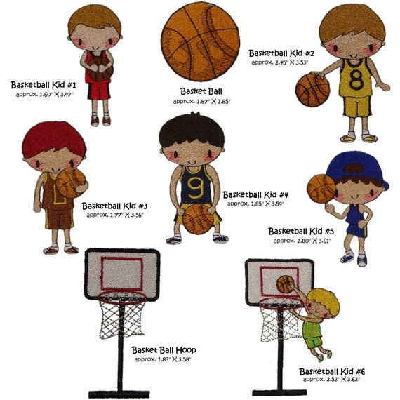 Machine Embroidery Shooting Hoops set basketball basket ball playing kids file