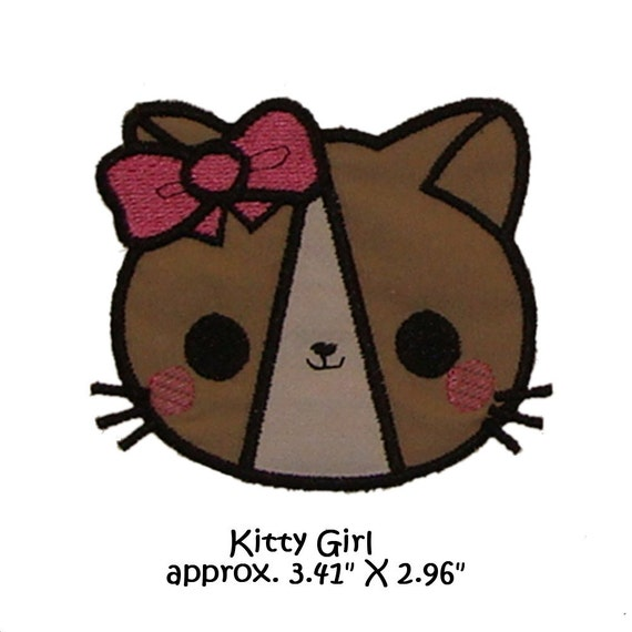 Applique Machine Embroidery Kawaii Kitty girl version