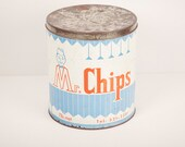 Mr. Chips - Canadian chips vintage blue-white-red metal can