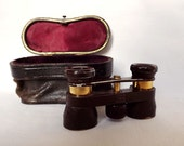 German opera glasses, field glasses, with leather case from 1920s, by Emil Busch - multinett