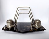 RESERVED - Inkwells, letter holder and pen rest from France in glass and metal