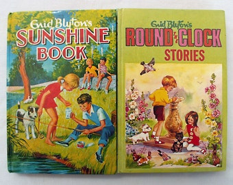 Two Enid Blyton books, Sunshine Book and Round the Clock Stories, 1960s, Dean & Son Ltd