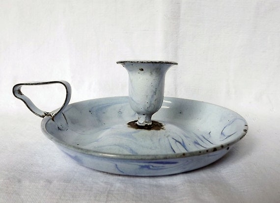 French enamel candle holder in pale blue swirls