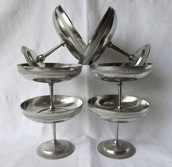 Six French sorbet or ice cream bowls in stainless steel