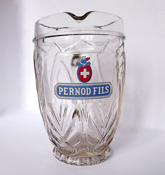 Pernod Fils glass pitcher from 1950s France
