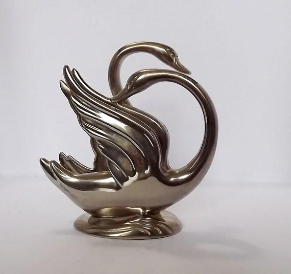 Swan letter rack in silver metal