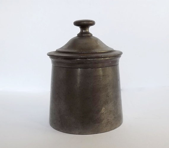 Antique French pewter lidded pot