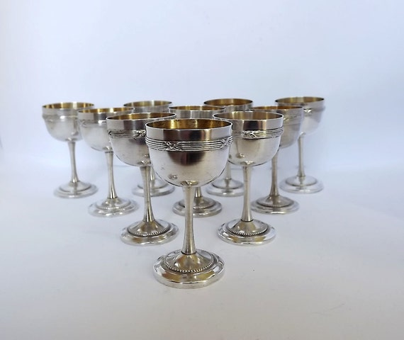 RESERVED - Ten French liqueur goblets, liqueur cups - silver plated