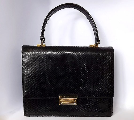 Black snakeskin handbag, purse, from France