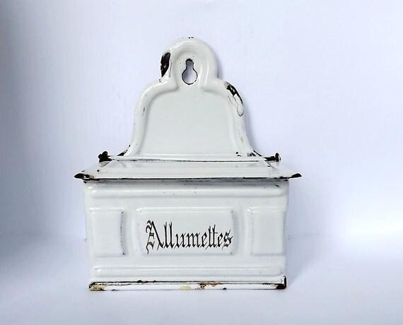 RESERVED - French enamel allumettes box - match holder