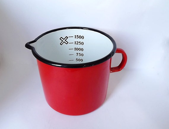 Enamel measuring pitcher in cheerful red