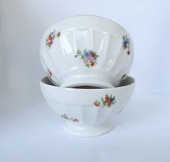 RESERVED for Marie - Cafe au lait bowls, set of two in bone china, great for your breakfast coffee, hot chocolate, or porridge