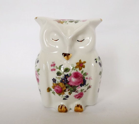 Bone china owl, made in England, with floral decoration