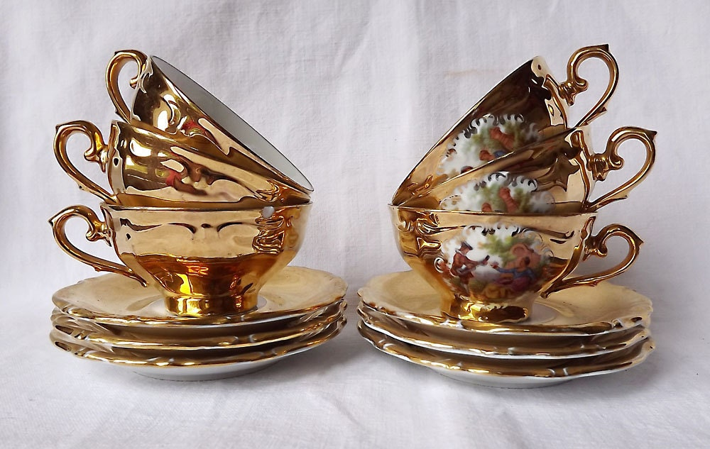 winterling gold gilt cups and saucersa set of six made from. Black Bedroom Furniture Sets. Home Design Ideas