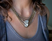 Rhinestone Clip-on and Upcycled Chain Necklace