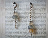 One of a kind gray and yellow glass bead earrings