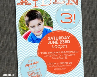 Boys birthday party invitation - PHOTO - baby - toddler - kid - Printable or Printed for you