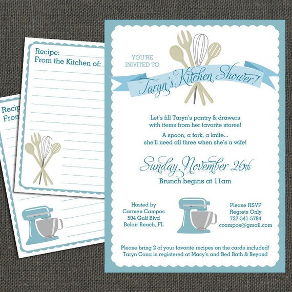 Items Similar To Bridal KITCHEN SHOWER Invitation And