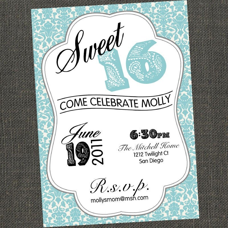 This is an image of Decisive Free Printable Sweet 16 Invitations
