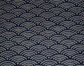 Tissu japonais motif géométrique seigaiha (ou vague)