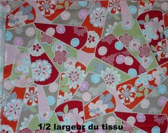 Tissu motif éventail rouge - 50 cm