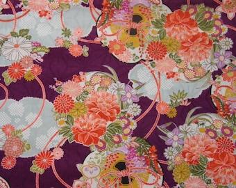 Tissu motifs fleuris avec trame fond violet- 50 cm