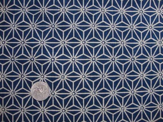 articles similaires tissu japonais motif g om trique asanoha toile bleu 50 cm sur etsy. Black Bedroom Furniture Sets. Home Design Ideas
