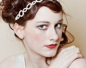 Silver and crystal hairband and forehead band in oval design