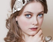 Art Deco Headpiece in silver and pearl with circle design