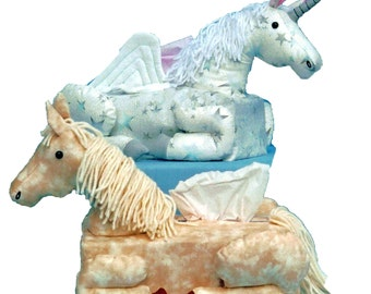 The Original Sneezes Horse and Unicorn Sewing Pattern Tissue Box Cover