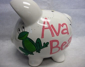 Personalized Piggy Bank Frog