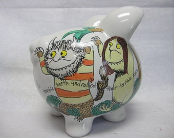 Personalized Piggy Bank Where the Wild Things Are-Roared his terrible Roar