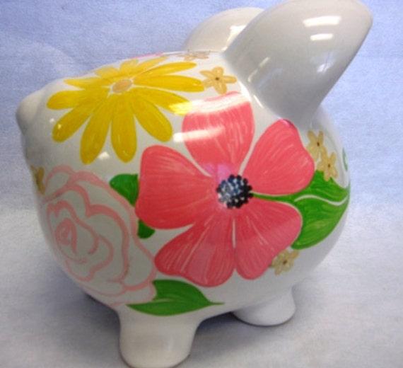 Personalized Piggy Bank Flower Garden