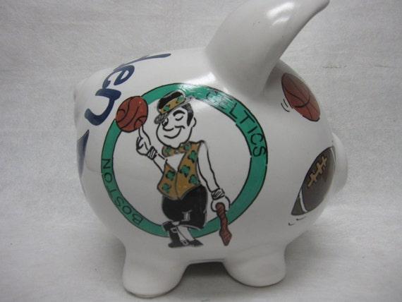 Personalized Piggy Bank Boston Sports Fan