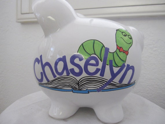 Personalized Piggy Bank Bookworm