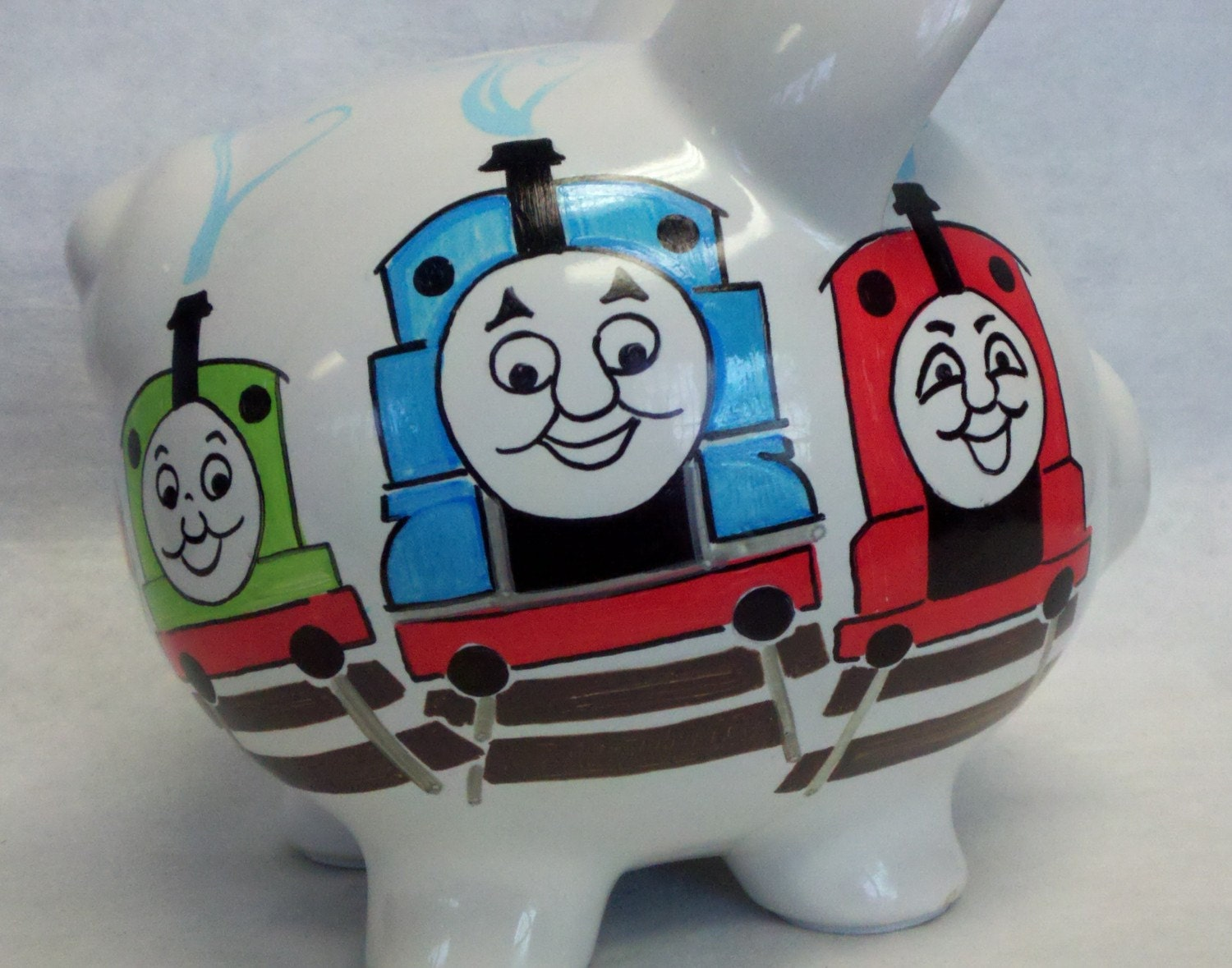 Personalized piggy bank thomas the tank and friends - Train piggy banks ...