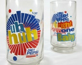 Vintage Uh Huh, You Got The Right One Baby Set of Two Diet Pepsi Drinking Glasses 1990's