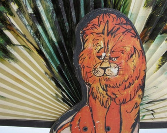 Vintage 1970's Jungle Print Paper Hand Fan With Hand Painted Lion Base