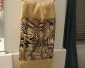 2 Bath  Guest towels  ANIMAL PRINT  trim on golden t towel  two   beautiful bath  elegant design cotton