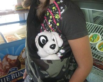 pet sling dog cat bunny ferret carrier  for any small pet  Camo XXS to 4XL available size free clip