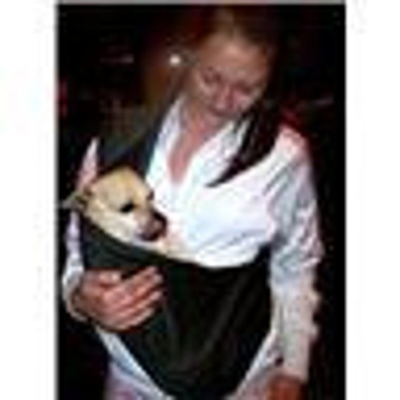 Black, pet sling dog cat bunny carrier -lined with warm flannel for any small pet  XXS TO 4XL available size free clip