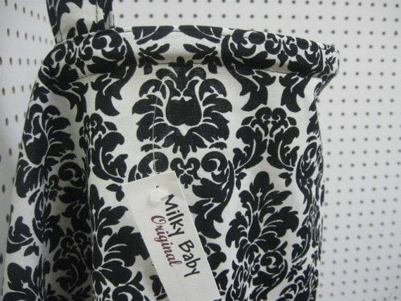 Breastfeeding nursing cover like hooter hider  BLACK  AND WHITE damask or  many fabric to pick from Milky baby original-