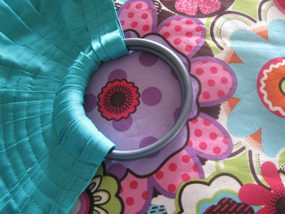 Baby ring sling toddler carrier wrap adjustable TURQUOISE base garden RETRO    tail  - or choose fabric -one free pocket
