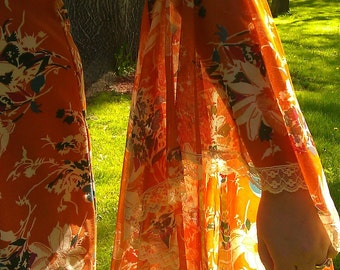 Vintage 70's Orange Bell Sleeve dress