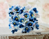 Dainty Millinery Vintage Style Forget Me Not Flowers in Denim Mix