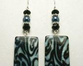 Blue and Black Zebra Print Earrings
