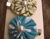 YoYo Hair Clips (Set of 2) Green/Cream & Blue/White